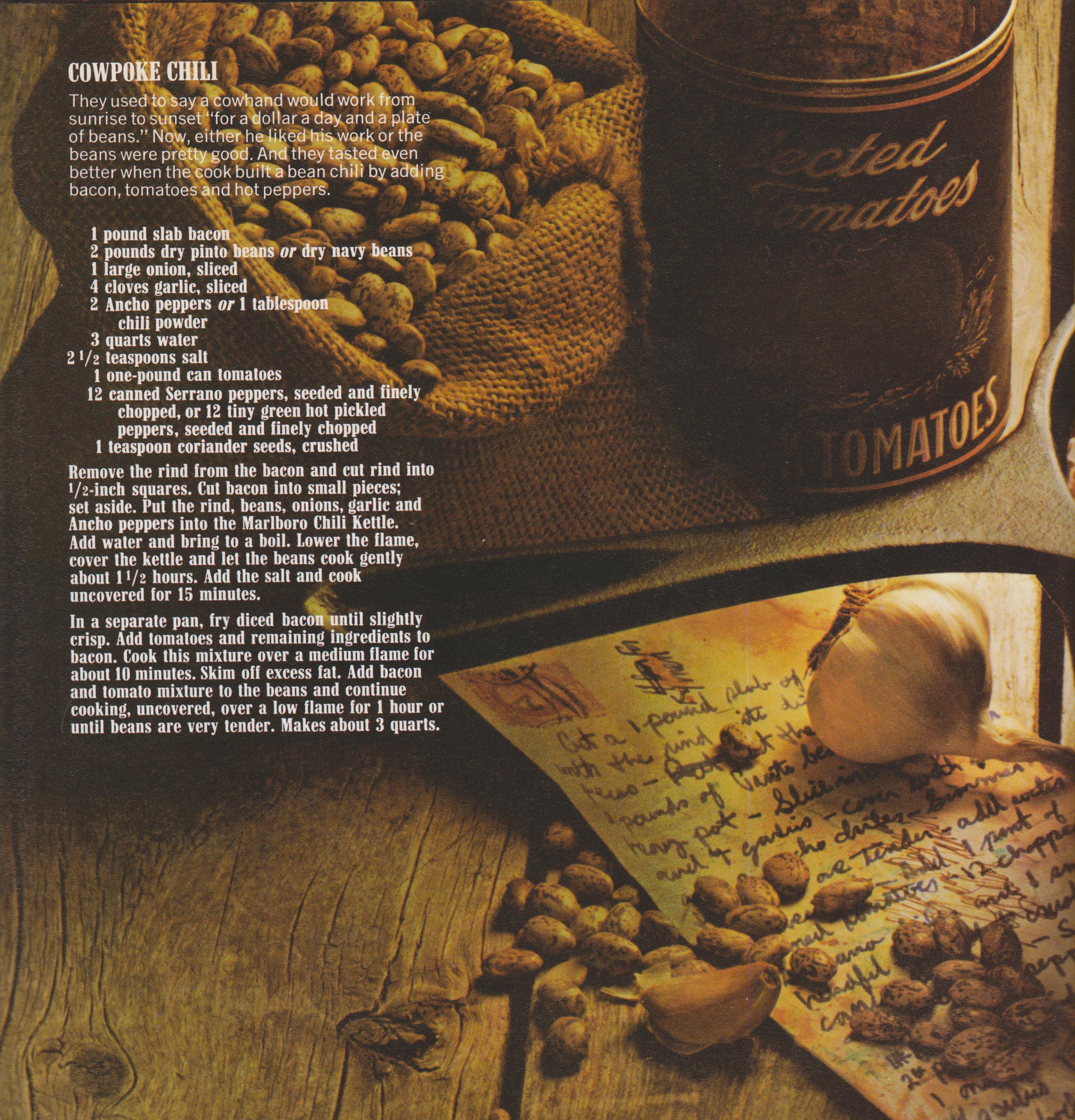 Marlboro Chili Recipe Book